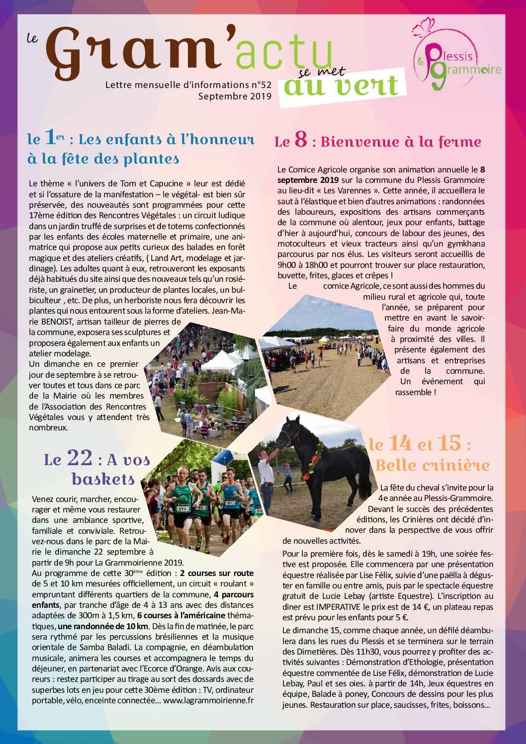 GRAM'ACTU 52 – SEPTEMBRE 2019