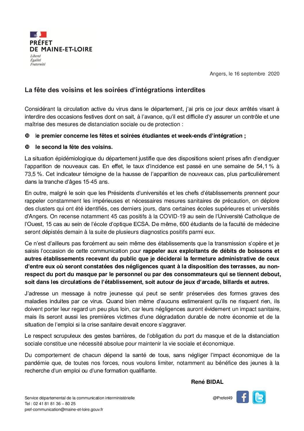COMMUNIQUE du 16-09-2020-interdiction fete voisins et integration