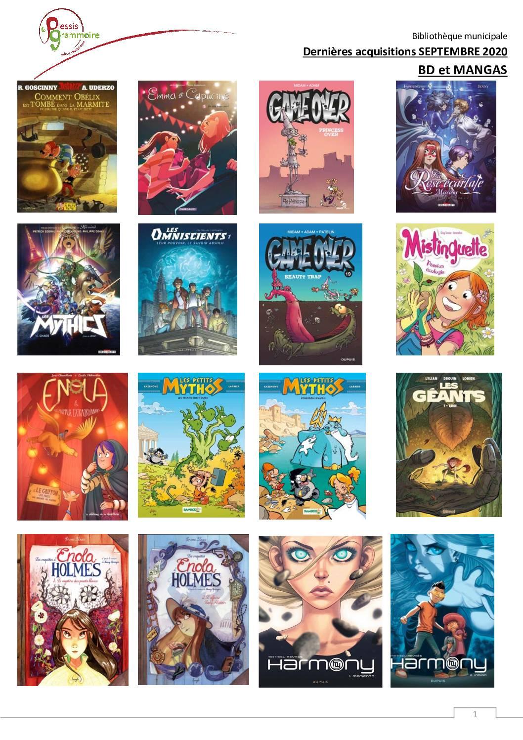 2020-09 Nouveautés BD et manga
