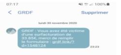 SMS fraudleux GRDF