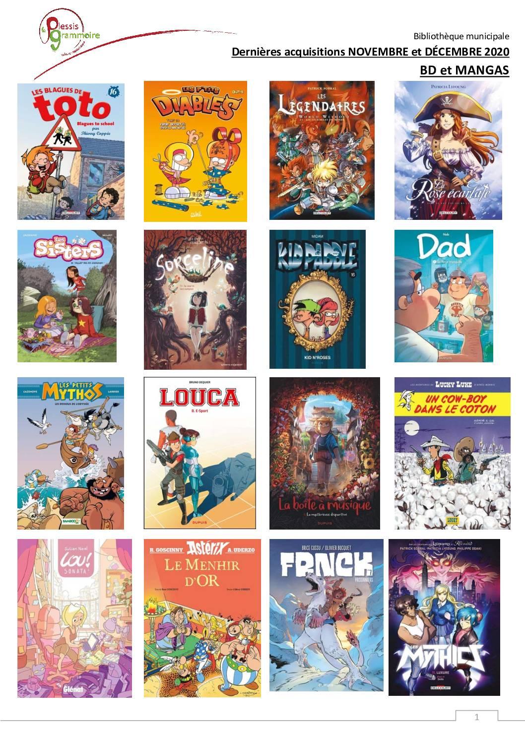 2020-11 Nouveautés BD et manga